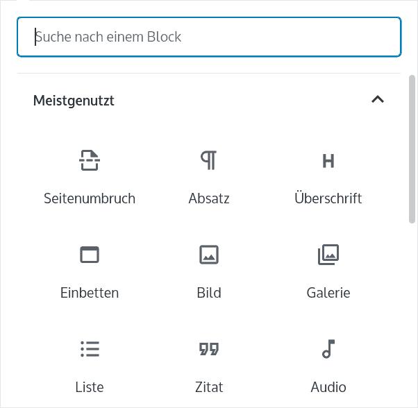 Gutenberg Block einfügen über Auswahl Menü