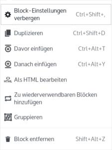 Mehr Optionen in der Block Toolbar