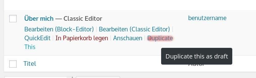 Seite kopieren mit Duplicate Page Plugin