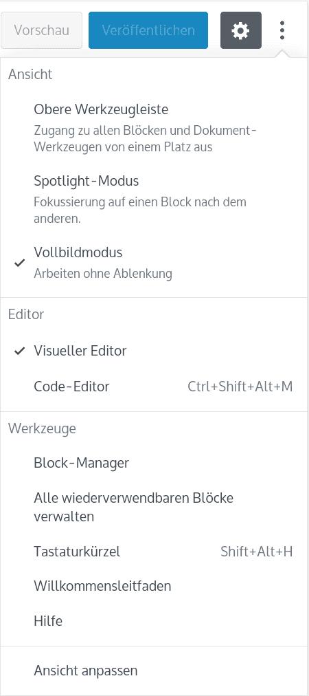 Gutenberg Options-Menü