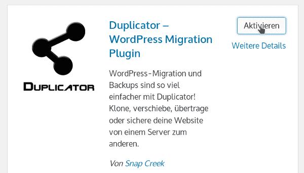 WordPress Plugin aktivieren