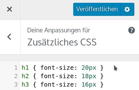 CSS im Theme Customizer hinzufügen und anpassen